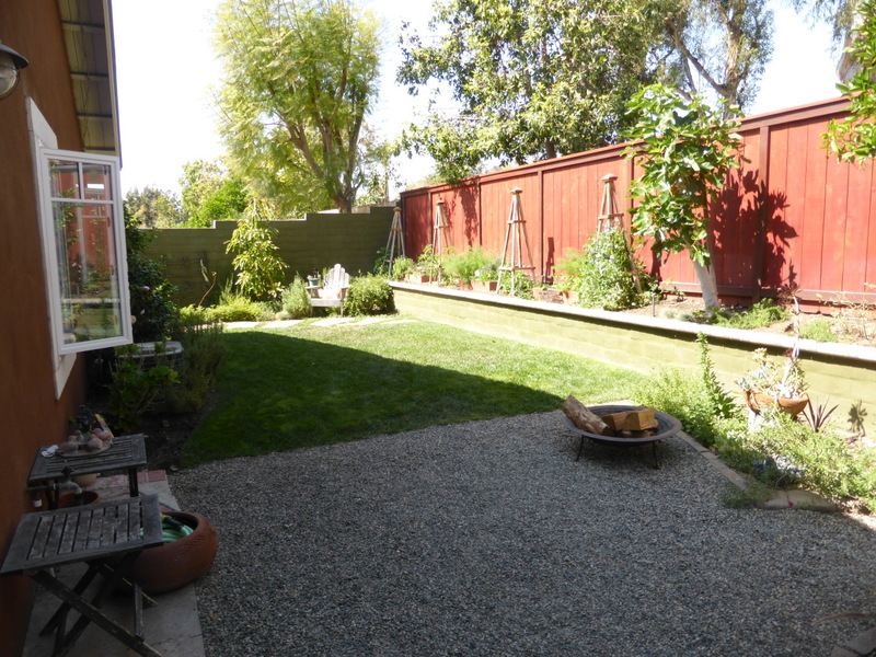 Narrow Backyard Deck : The narrow backyard is half grass and half gravel, with a new back