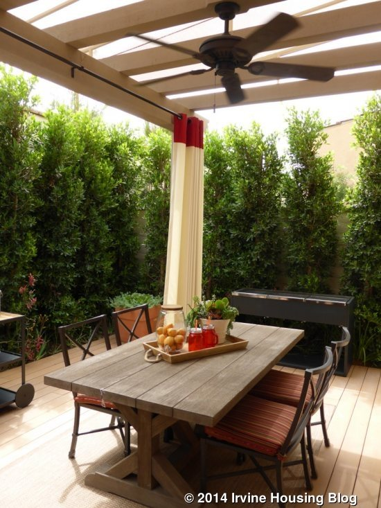 The Sliding Doors Lead To A Trellis Area With Space For A Table And  Barbecue. There Is A Narrower Portion Of The Yard On One Side. The Home  Comes Standard ...